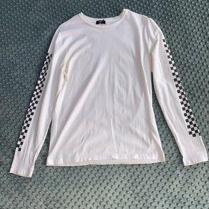 Forever 21 White Checkered Long Sleeve Tee